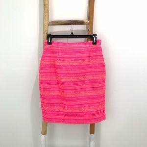 Lily Pulitzer Neon Pink Metallic Gold Pencil Skirt